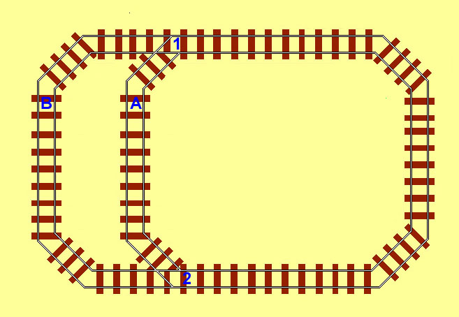 A train can travel along alternative routes by locating 2 IRDOT-Ps each before the point to switch it ready for exiting and switch another facing poinr ro change the trains route