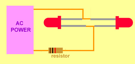 when using leds with AC the leds can be connected back to back so that the lit led protects the unlit one from high reverse voltages