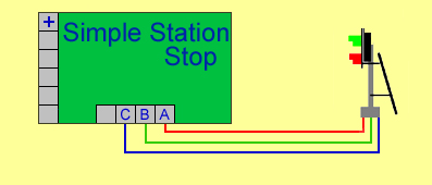 Two aspect Common negative signals are easily connected by wiring the green wire to terminal B the red wire to terminal A and the blue common wire to terminal C.