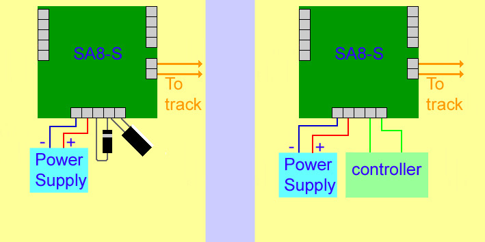 The SA8-S can be connected to an external controller or throttle by removing the capacitor and diode