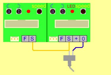 servo for model railways fig 2 one switch operates two servo motors together use for operating the two barriers of a level crossing or two points together where the two points form