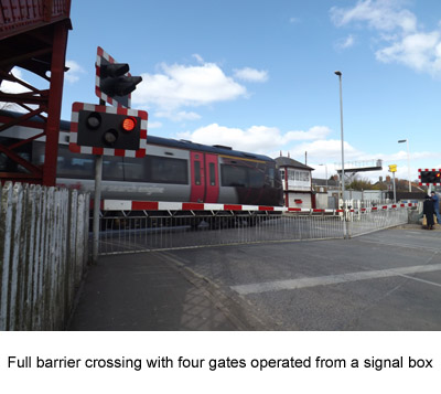 photo of a full barrier level crossing with four gates