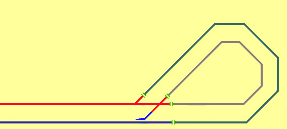 the diagram shows 4 isolation breaks in the track on the reverse loop   whilst the train is travelling around the loop the feeds to the straight  section need